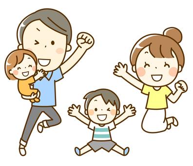 ジャンプする家族 4人家族