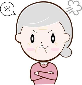 Angry / senior woman / upper body
