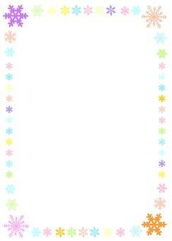 Colorful snow crystal frame