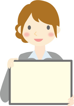 A woman holding a board
