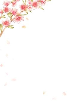 桃の花と舞い散る花びら