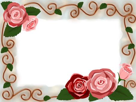 Romantic frame illusion of roses