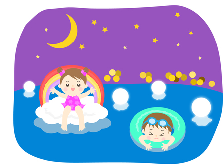 Boys and girls playing in the night pool _ children