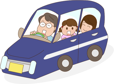 Family going out by car