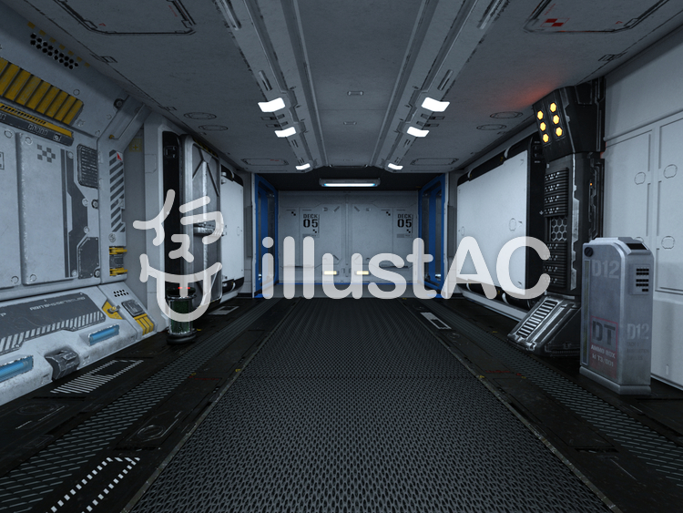 宇宙船内通路のイラスト