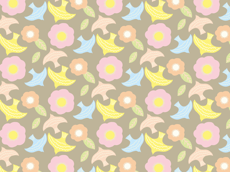 Bird and flower background material pattern