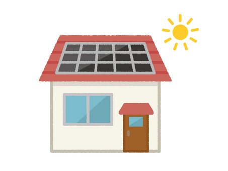 Solar power and red roof house