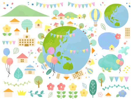 かわいいエコな地球のイラスト