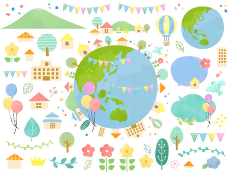 Illustration of a cute eco earth