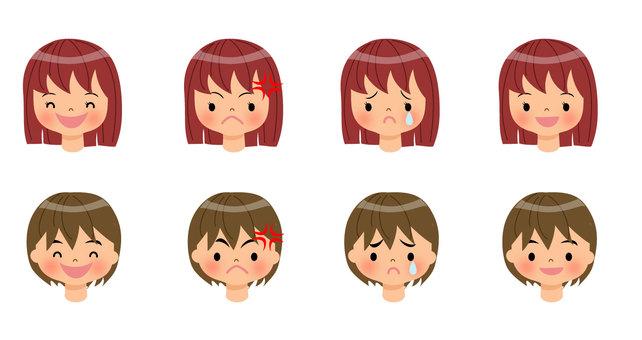 子どものいろいろな表情、正面向き
