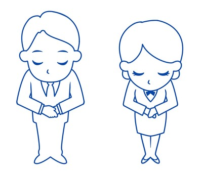 Men and women who bow (line drawings)