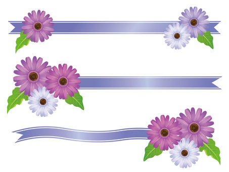 Purple Gerbera Flower and Ribbon Frame 01