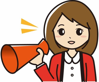 Female saleswoman with megaphone wearing happily