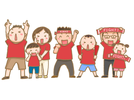 People supporting red group