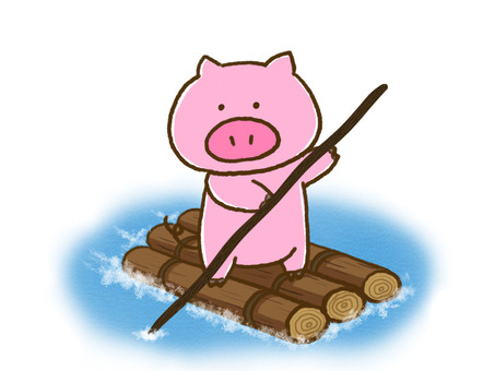 Pigs on a raft