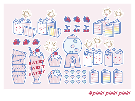 Pink sweets material
