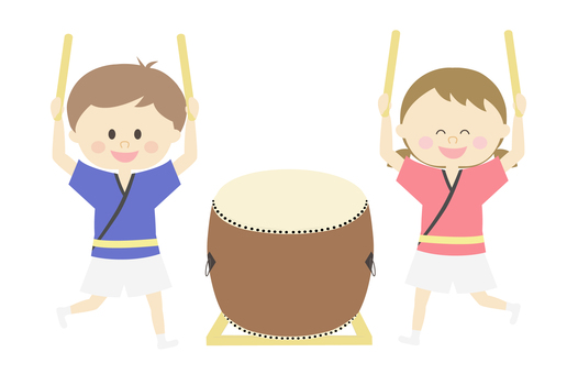 Children playing with taiko