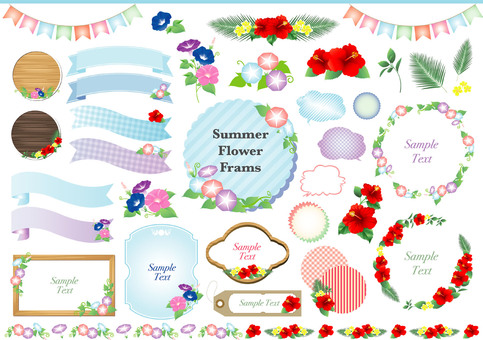 Morning Glory and Hibiscus Summer Floral Frame Set