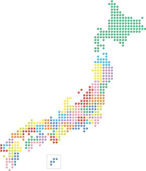 Japan map map dot sphere