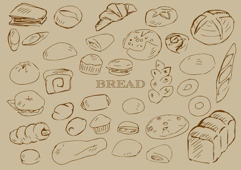 Hand drawn bread line drawing tea