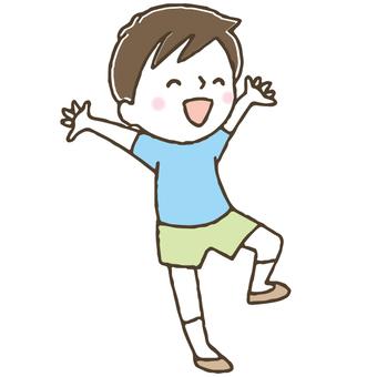 喜ぶかわいい子ども/男の子/手描き