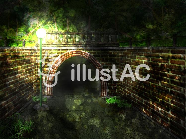 夜のトンネルのイラスト