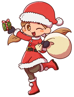 산타 코스프레를 한 소녀