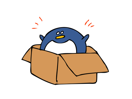Penguin coming out of the box