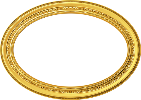 Picture frame decoration Ellipse oval gold
