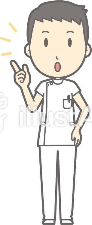 男性看護師-注意-全身のイラスト