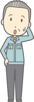Middle-aged man working clothes - get it - whole body