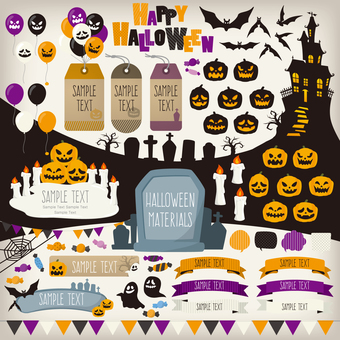Halloween illustration material set