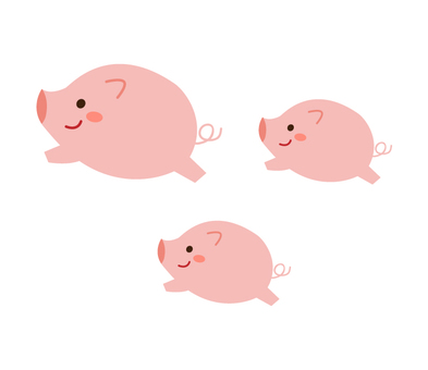 Three running pigs and parents