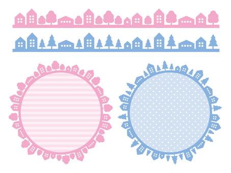 Street frame (pink, light blue)
