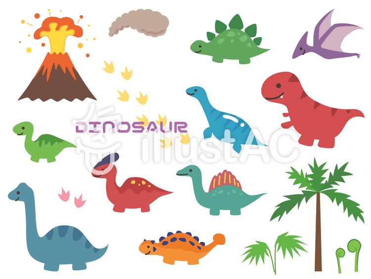 かわいい恐竜のセットイラスト No 1173839無料イラストなら