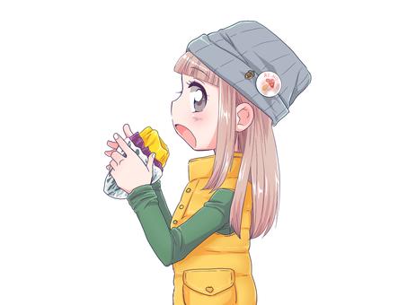 군 고구마를 먹는 여자 3