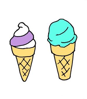 Soft cream and ice cream
