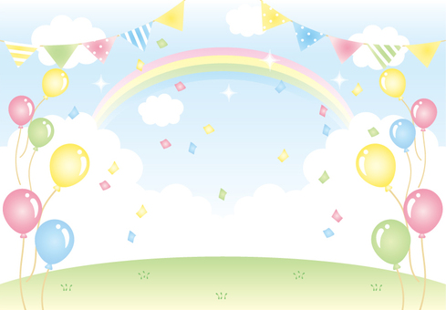 Sky and rainbow, balloons and confetti