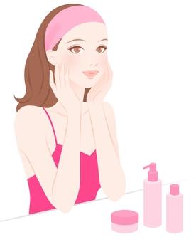 Skin care women pink
