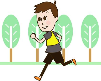 공원을 달리기하는 남자