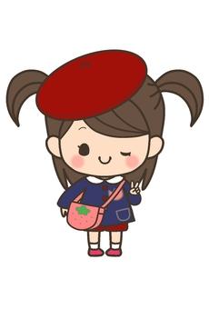 Girls' child (hat red diagonal)