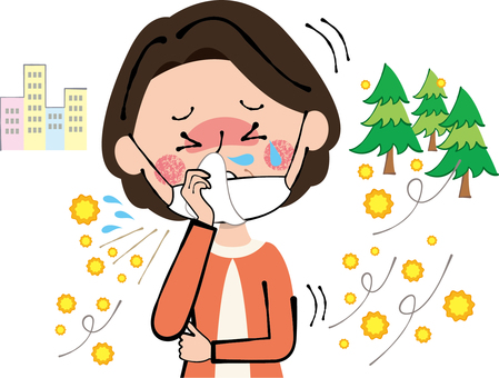 Hay fever sneeze runny nose tissue wipe middle aged woman