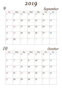 September-October 2019 A4 calendar modified version