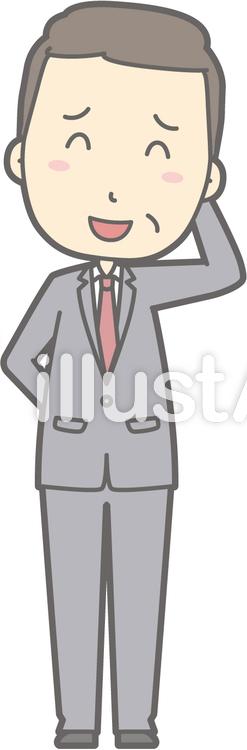 中年男スーツ-いやん-全身のイラスト