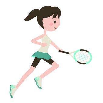 A woman playing tennis