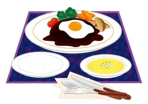 Hamburger (with fried egg / Western set)