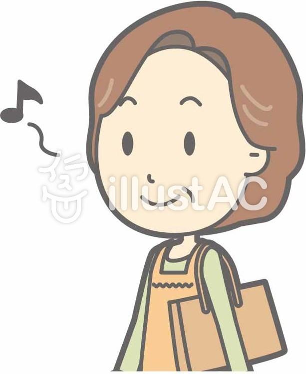 中年主婦a-歩く笑顔-バストのイラスト