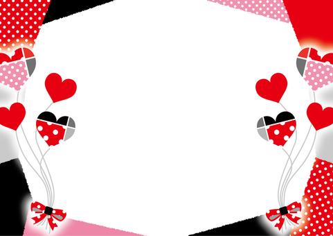 Heart balloon frame _ red black