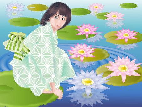 Yukata and water lily 04