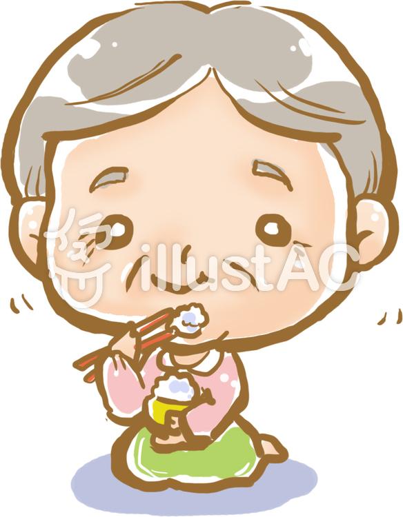 おばあちゃんの笑顔の食事イラスト No 300497無料イラストなら